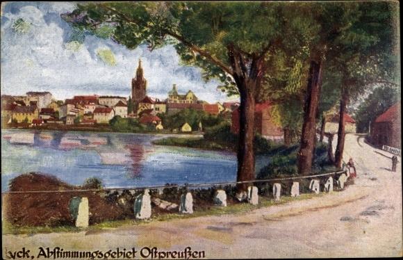 Künstler Ak Ełk Lyck Masuren Ostpreußen, Straßenpartie mit Blick auf den Ort, Abstimmungsgebiet