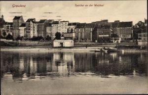 Ak Grudziądz Graudenz Westpreußen, Blick auf den Speicher an der Weichsel