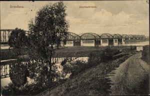 Ak Grudziądz Graudenz Westpreußen, Blick auf die Weichselbrücke