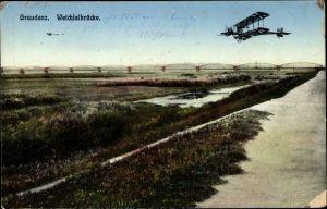 Ak Grudziądz Graudenz Westpreußen, Blick auf die Weichselbrücke, Doppeldecker