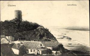 Ak Grudziądz Graudenz Westpreußen, Blick auf den Schlossberg, Flusspartie