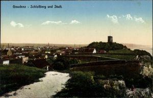 Ak Grudziądz Graudenz Westpreußen, Blick auf den Schlossberg und Stadt