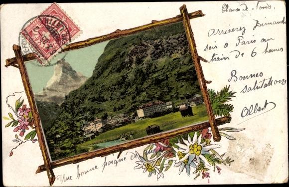 Passepartout Ak Zermatt Kt. Wallis Schweiz, Teilansicht, Hotelgebäude, Matterhorn