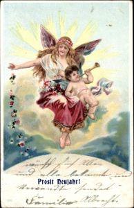 Ak Glückwunsch Neujahr, Engel, Kitsch