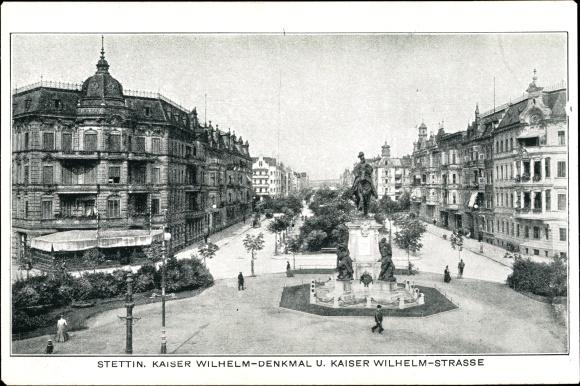 Ak Szczecin Stettin Pommern, Kaiser Wilhelm Straße mit Kaiser Wilhelm Denkmal
