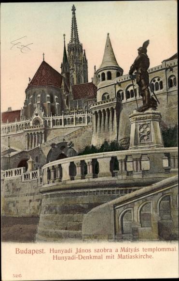 Ak Budapest Ungarn, Hunyadi Denkmal mit Matthiaskirche, Stadtansicht