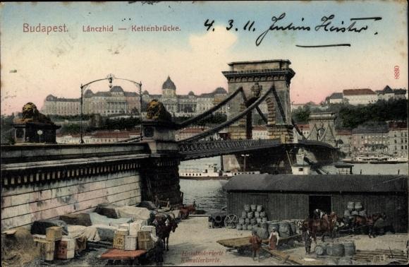 Ak Budapest Ungarn, Lanczhid, Kettenbrücke