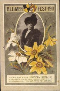 Passepartout Ak Blumenfest 1911, Gräfin von Wedel,Zu Gunsten eines Krüppelheims für Elsaß Lothringen