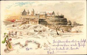 Litho Coburg in Oberfranken, Gruß von der Veste, Winter