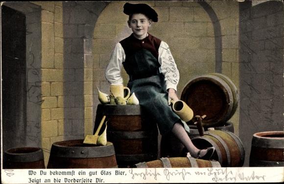 Ak Oeslau Rödental Oberfranken, Wo Du bekommst ein gut Glas Bier, Gasthof Brauerei Carl Sauerteig