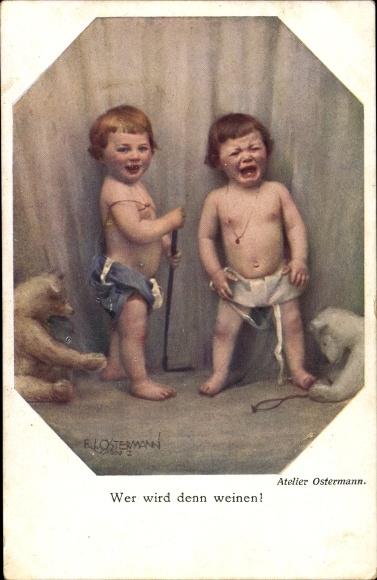 Künstler Ak Ostermann, Wer wird denn weinen, Weinender Junge, Teddybären, BKWI 554-3