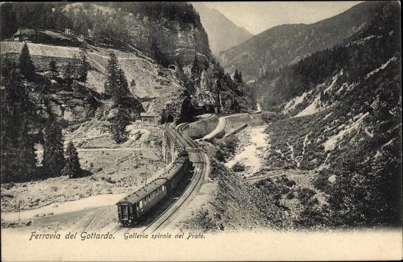 Ak Schweiz, Ferrovia del Gottardo, Galleria spirale del Prato, Bergbahn, Gotthardbahn