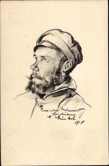 Künstler Ak Russischer Infanterist, Portrait, Soldat, I. WK