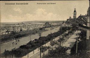Ak Świnoujście Swinemünde Pommern, Blick auf Strandpromenade und Strand