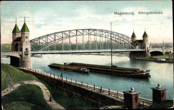 Ak Magdeburg an der Elbe, Blick auf die Königsbrücke