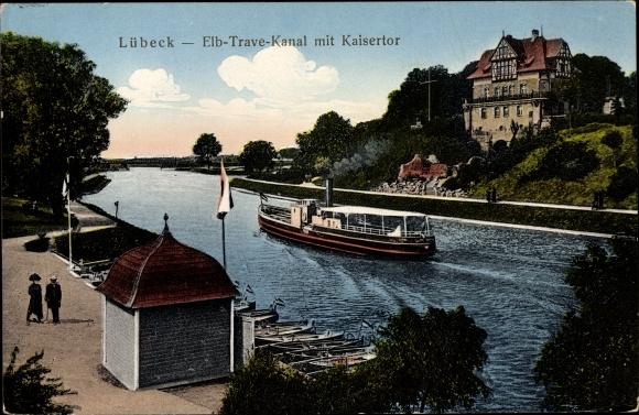 Ak Lübeck in Schleswig Holstein, Elbe Trave Kanal mit Kaisertor
