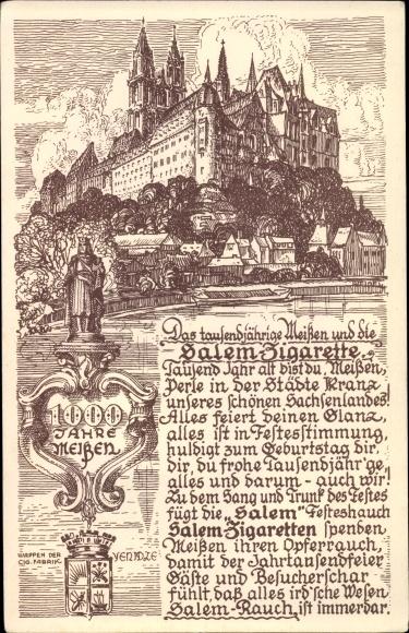 Künstler Ak Meißen in Sachsen, 1000 Jahre Meißen, Ansicht mit Schloss, Wappen, Gedicht