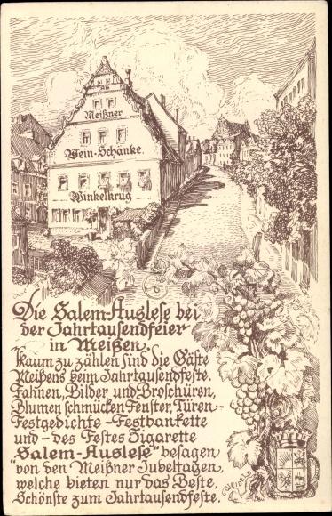Künstler Ak Meißen in Sachsen, 1000 Jahre Meißen, Partie mit Weinschänke Winkelkrug, Wappen, Gedicht