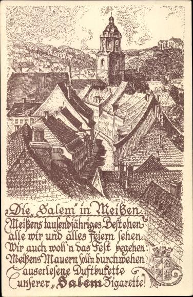 Künstler Ak Meißen in Sachsen, 1000 Jahre Meißen, Ansicht vom Ort, Wappen, Gedicht