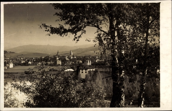 Ak Šumperk Mährisch Schönberg Reg. Olmütz, Stadtpanorama, See, Glockenturm