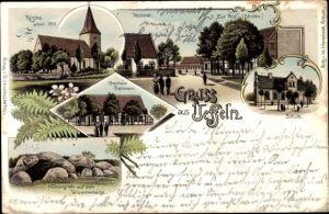Litho Ueffeln Bramsche in Niedersachsen, Zur Post v. Strubbe, Gasthaus Ballmann, Kirche, Schule