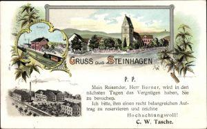 Litho Steinhagen in Westfalen, Brennerei Tasche, Besuchsanzeige C. W. Tasche, Herr Berner, Bahnhof