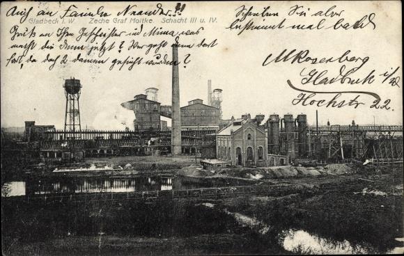 Ak Gladbeck im Ruhrgebiet, Zeche Graf Moltke, Schacht III und IV, Anlagen