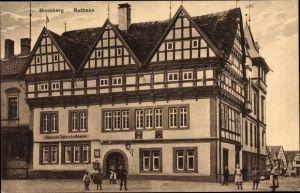 Ak Blomberg Nordrhein Westfalen, Blick auf das Rathaus, Sparkasse, Straßenpartie