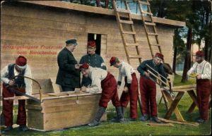 Ak Kriegsgefangene Franzosen beim Barackenbau, I. WK