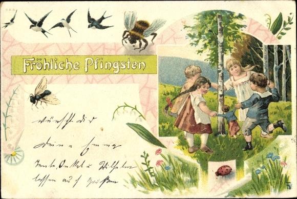Ak Glückwunsch Pfingsten, Hummel, Schwalben, Fliege, Kinder ringelreihen
