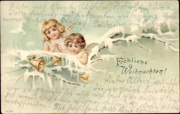 Ak Frohe Weihnachten, Zwei Engel, Glocken, Winterszene