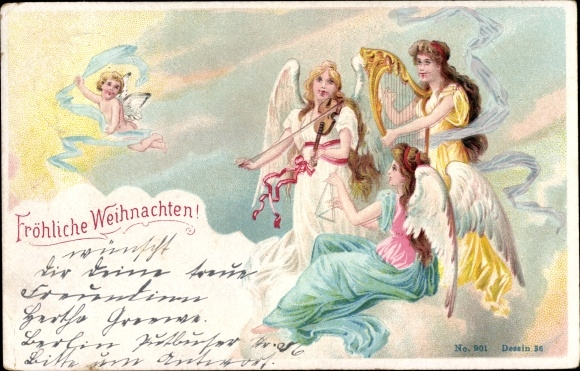 Ak Frohe Weihnachten, Engel, Harfe, Triangel, Violine