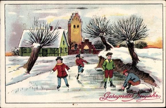 Ak Glückwunsch Neujahr, Eisläufer, Zugefrorener Fluss