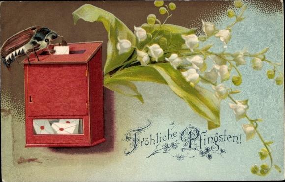 Ak Glückwunsch Pfingsten, Maikäfer, Briefkasten, Maiglöckchen