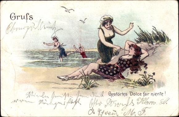 Litho Gestörtes Dolce far niente, Junge Frauen am Strand