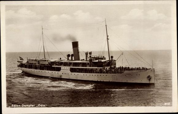 Ak Dampfschiff Odin, Reederei Braeunlich Stettin, Salondampfer