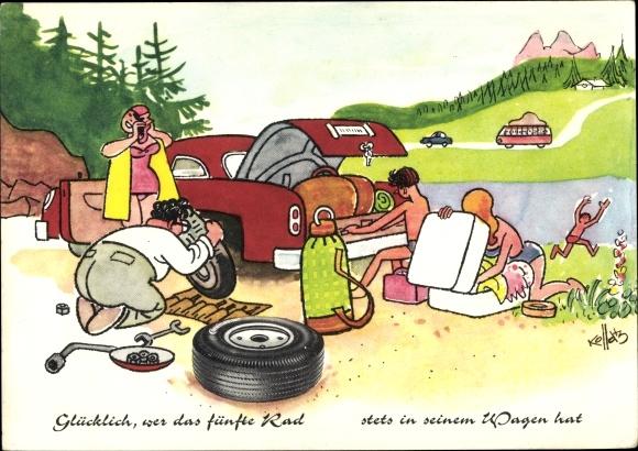 Künstler Ak Glücklich, wer das fünfte Rad stets in seinem Wagen hat, Urlaub, Autopanne