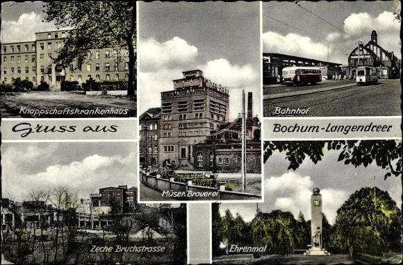 Ak Bochum im Ruhrgebiet, Ansichten, Brauerei, Bahnhof, Ehrenmal, Knappschaftskrankenhaus, Zeche