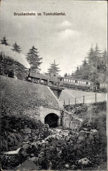 Ak Brockenbahn im Tumkuhlental, Dampflok, Viadukt