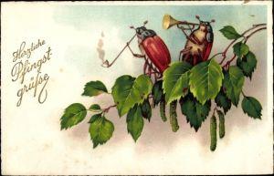 Ak Glückwunsch Pfingsten, Zwei Maikäfer auf einem Birkenast