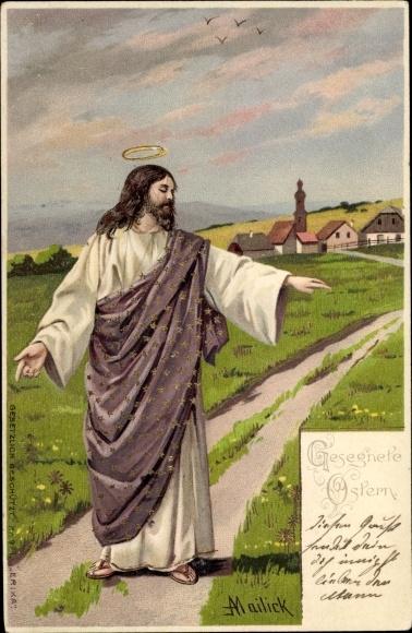 Künstler Litho Mailick, Glückwunsch Ostern, Jesus segnet eine Wiese