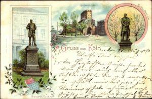 Litho Köln am Rhein, Bismarck Denkmal, Severintor, Moltkedenmal, Wappen