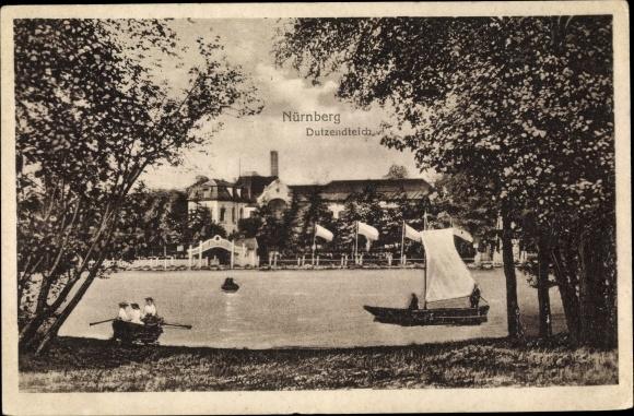 Ak Nürnberg in Mittelfranken Bayern, Bootspartie auf dem Dutzendteich