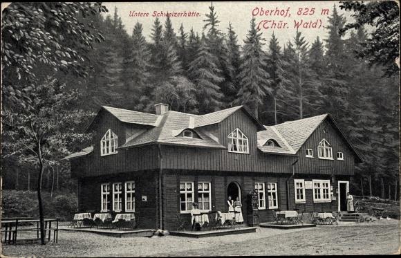 Ak Oberhof im Thüringer Wald, Blick auf untere Schweizerhütte, Wald