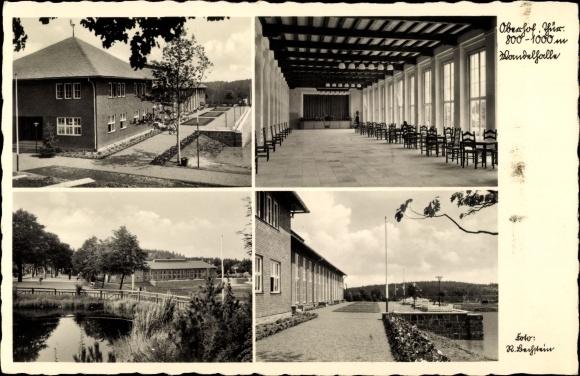 Ak Oberhof im Thüringer Wald, Wandelhalle, Seepartie, Brücke
