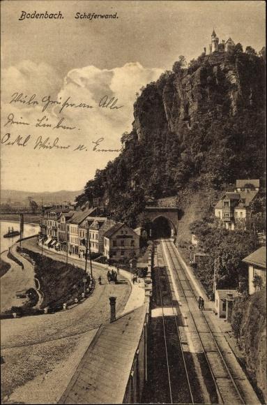 Ak Děčín Tetschen Bodenbach Elbe Reg. Aussig, Blick auf die Schäferwand, Gleise