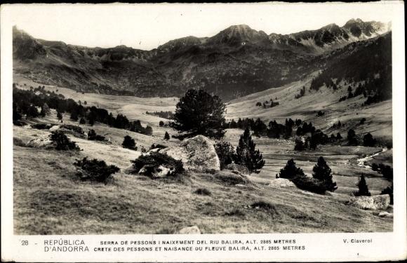 Ak Andorra, Crete des pessons et naissance du fleuve Balira, Landschaftspanorama