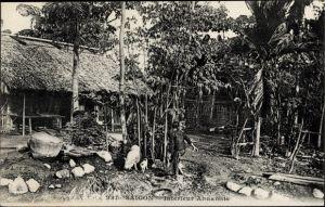 Ak Saigon Cochinchine Vietnam, Intérieur Annamite, Dorfansicht, Schweine