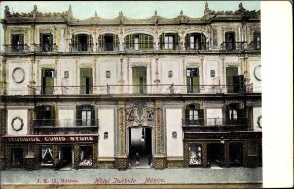 Ak Mexiko Stadt, Hotel Iturbide, Curio Store, Palast, Vorderansicht