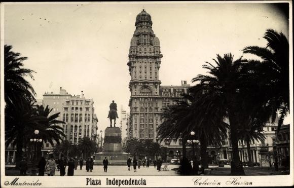 Ak Montevideo Uruguay, Plaza Independencia, Palacio Salvo